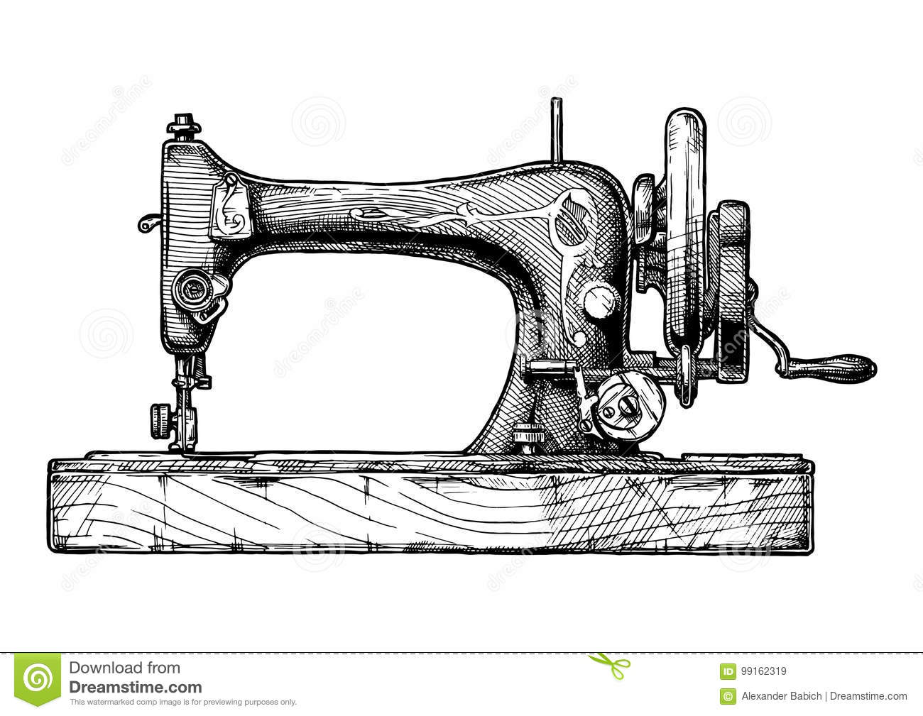 Illustration Of Sewing Machine Stock Vector