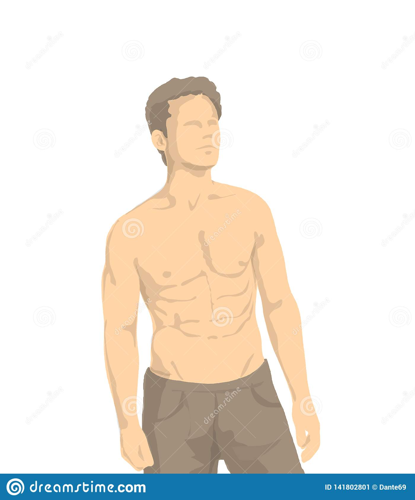 Illustration Of Shirtless Athletic Man With Muscles And