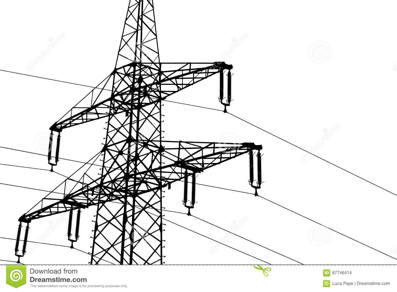 Illustration Silhouette Of A Power Line Stock Illustration