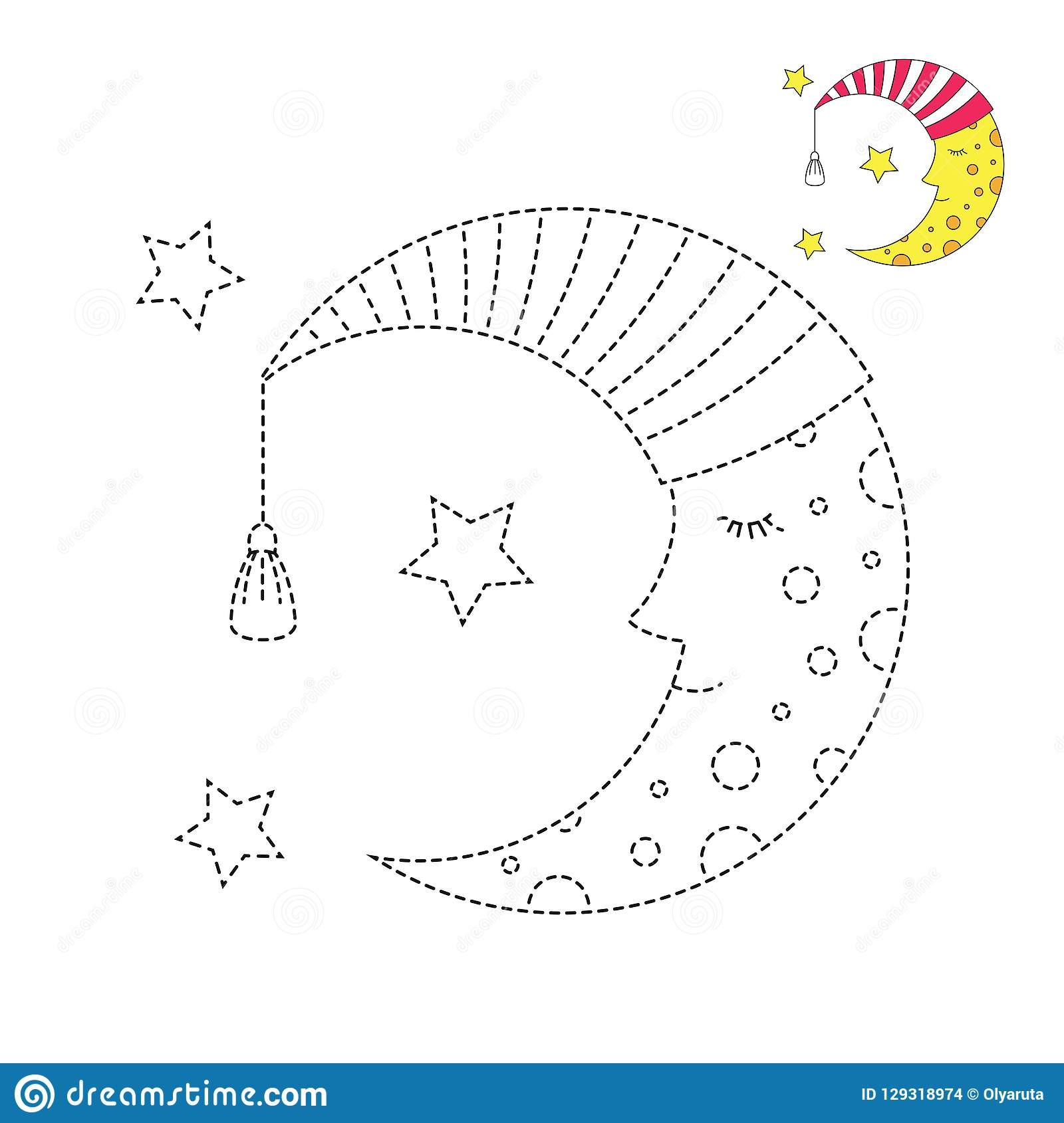 Illustration Of Sleeping Moon In Nightcap And Stars For
