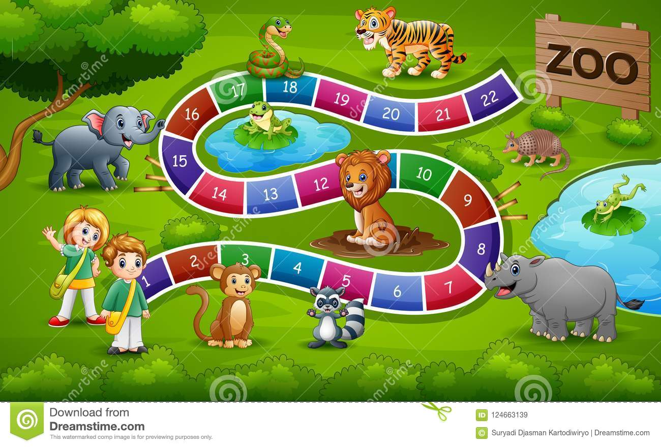 Snakes And Ladders Game Zoo Theme Stock Vector