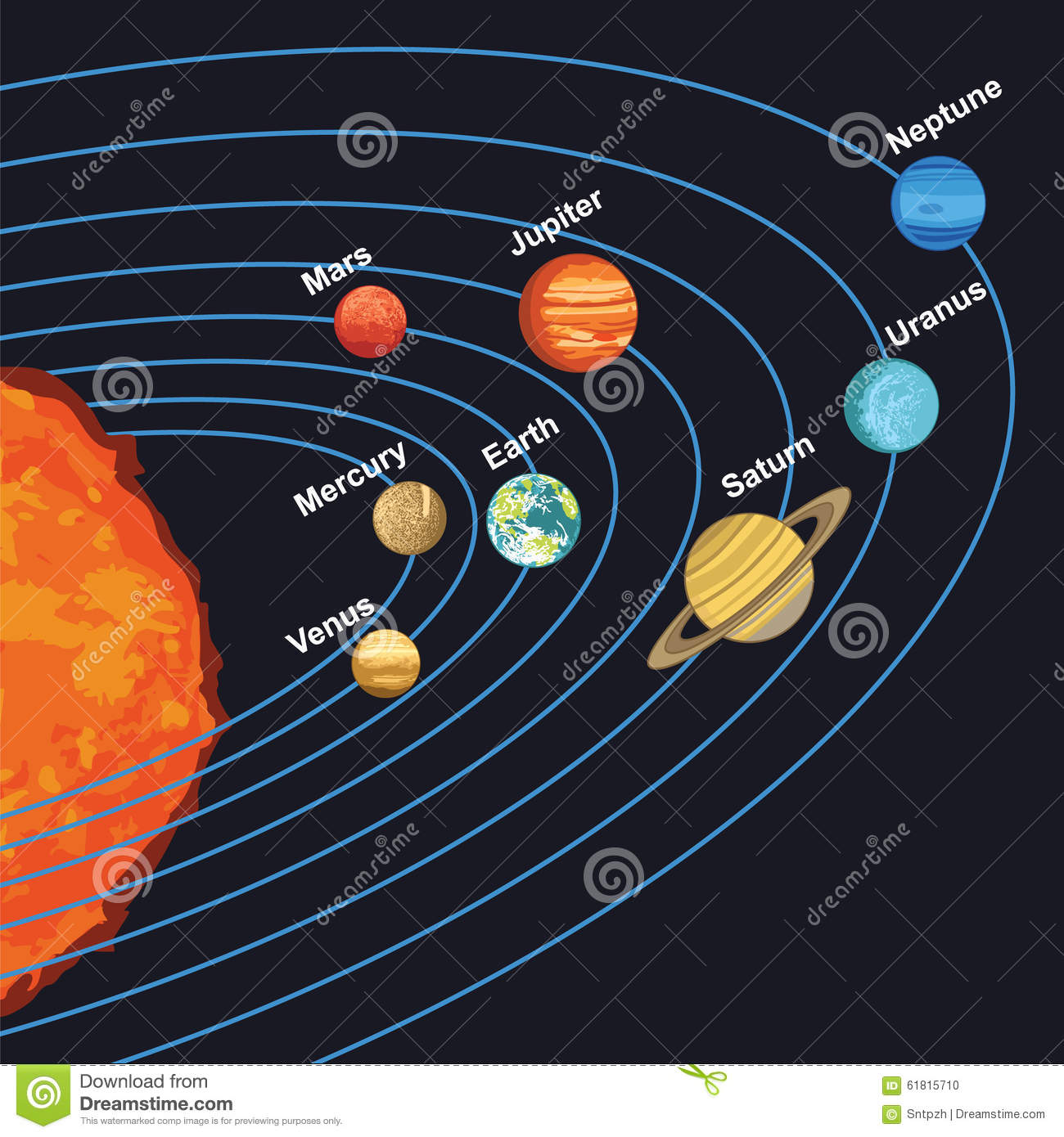 Illustration Of Solar System Showing Planets Around Sun Stock Vector