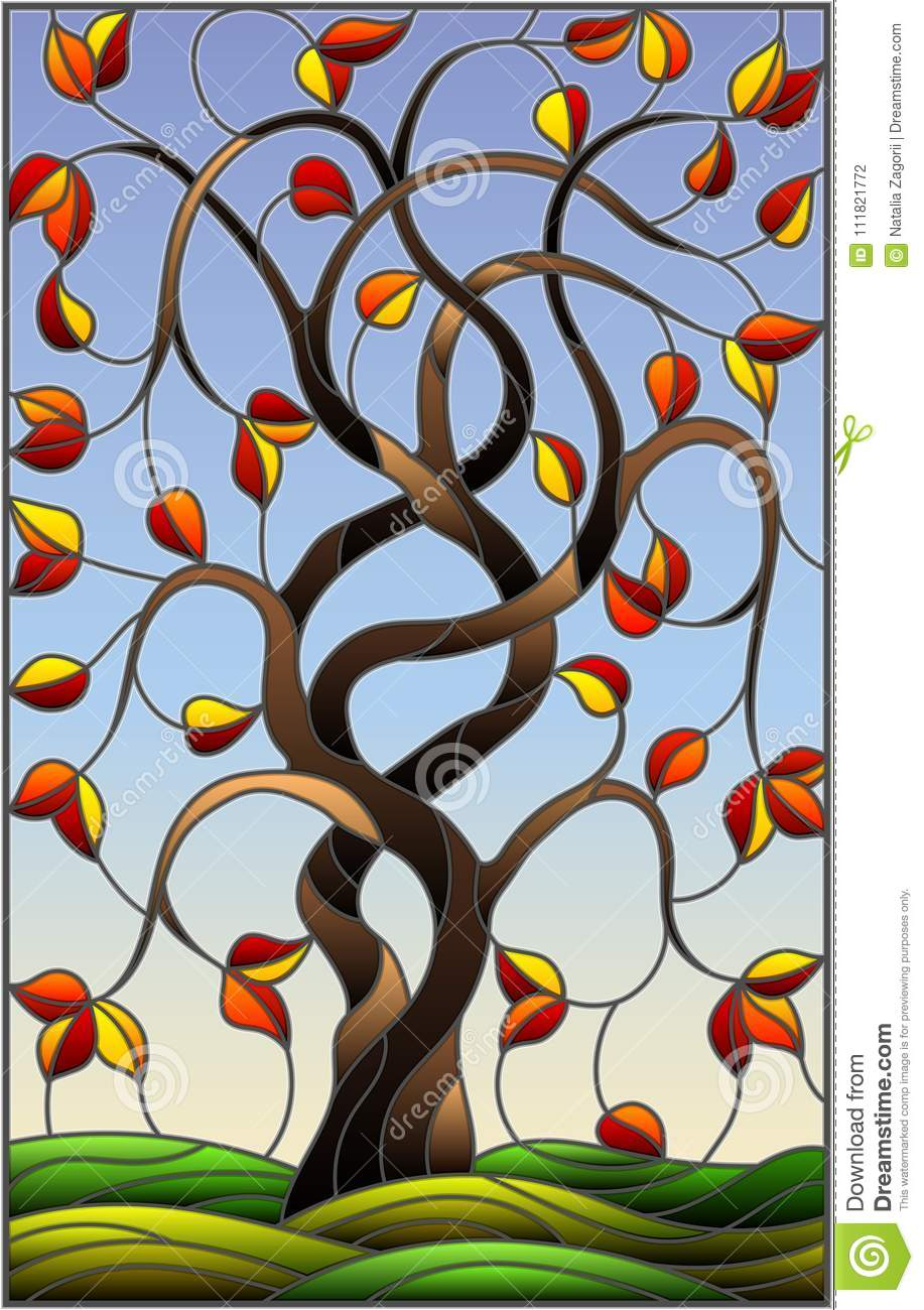 hight resolution of stained glass illustration with autumn willow tree on sky background