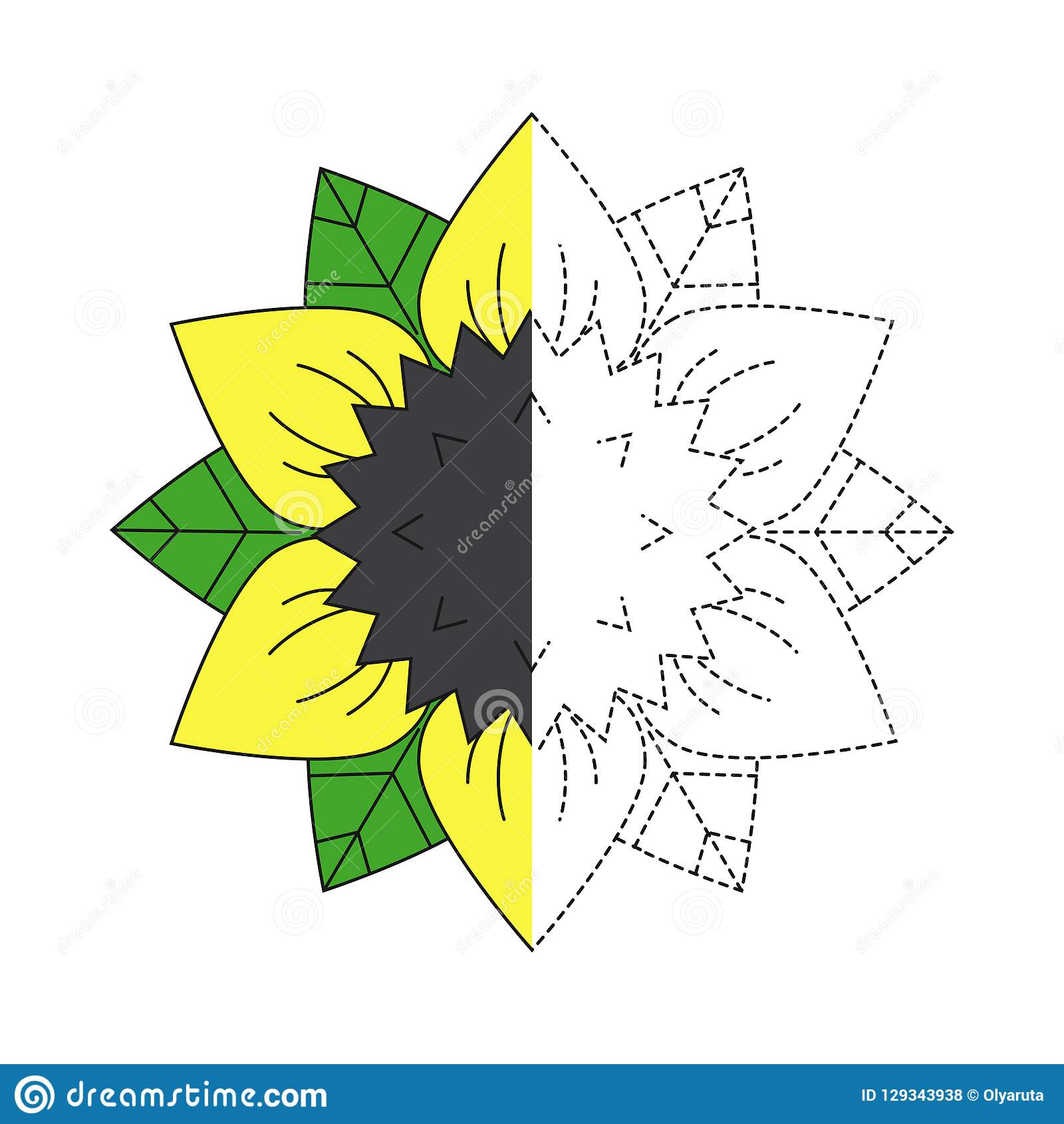 Illustration Of Sunflower And Green Leaves For Toddlers