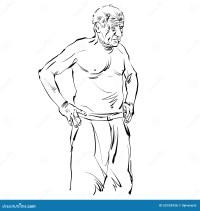 Illustration Tire Par La Main D'un Vieil Homme, Dessin ...