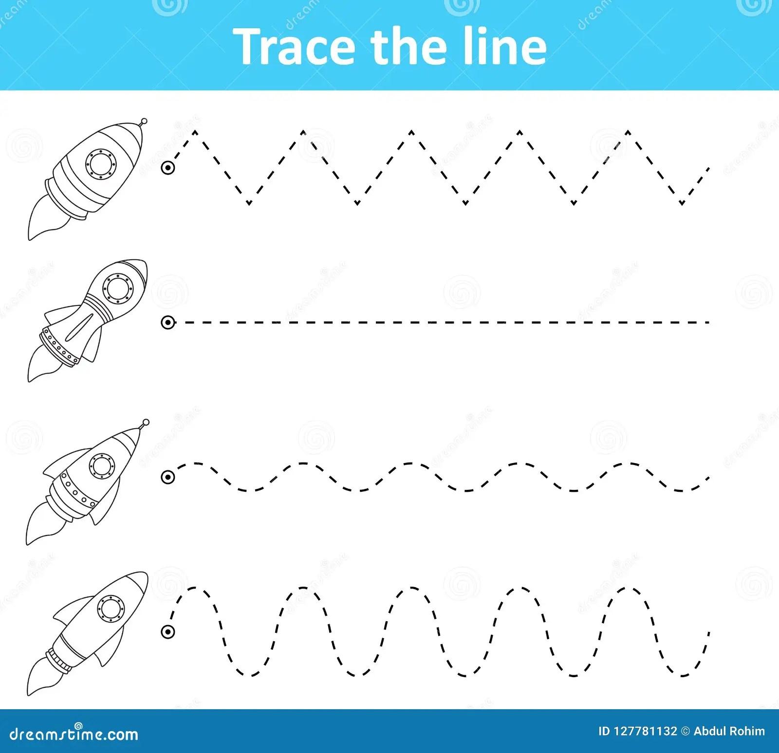 Trace Line Worksheet For Preschool Kids With Rockets Stock
