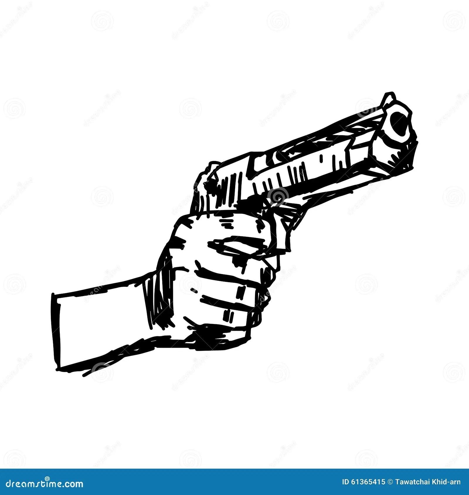 Illustration Vector Doodle Hand Drawn Of Hand Holding Gun