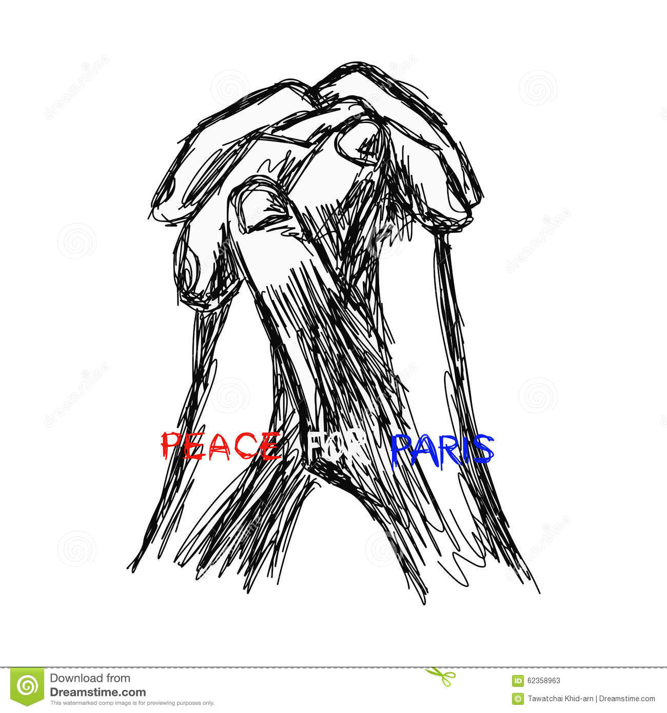 Illustration Vector Doodle Hand Drawn Of Sketch Praying