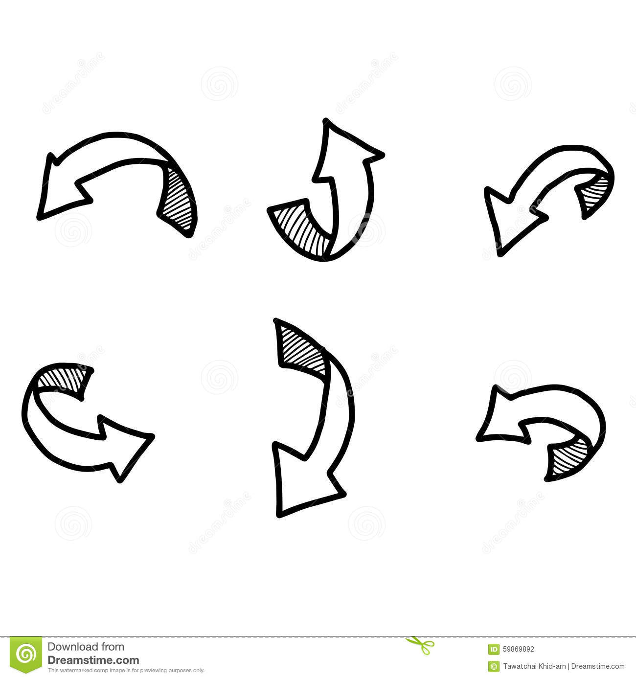 Illustration Vector Doodles Hand Drawn Curved Arrow With