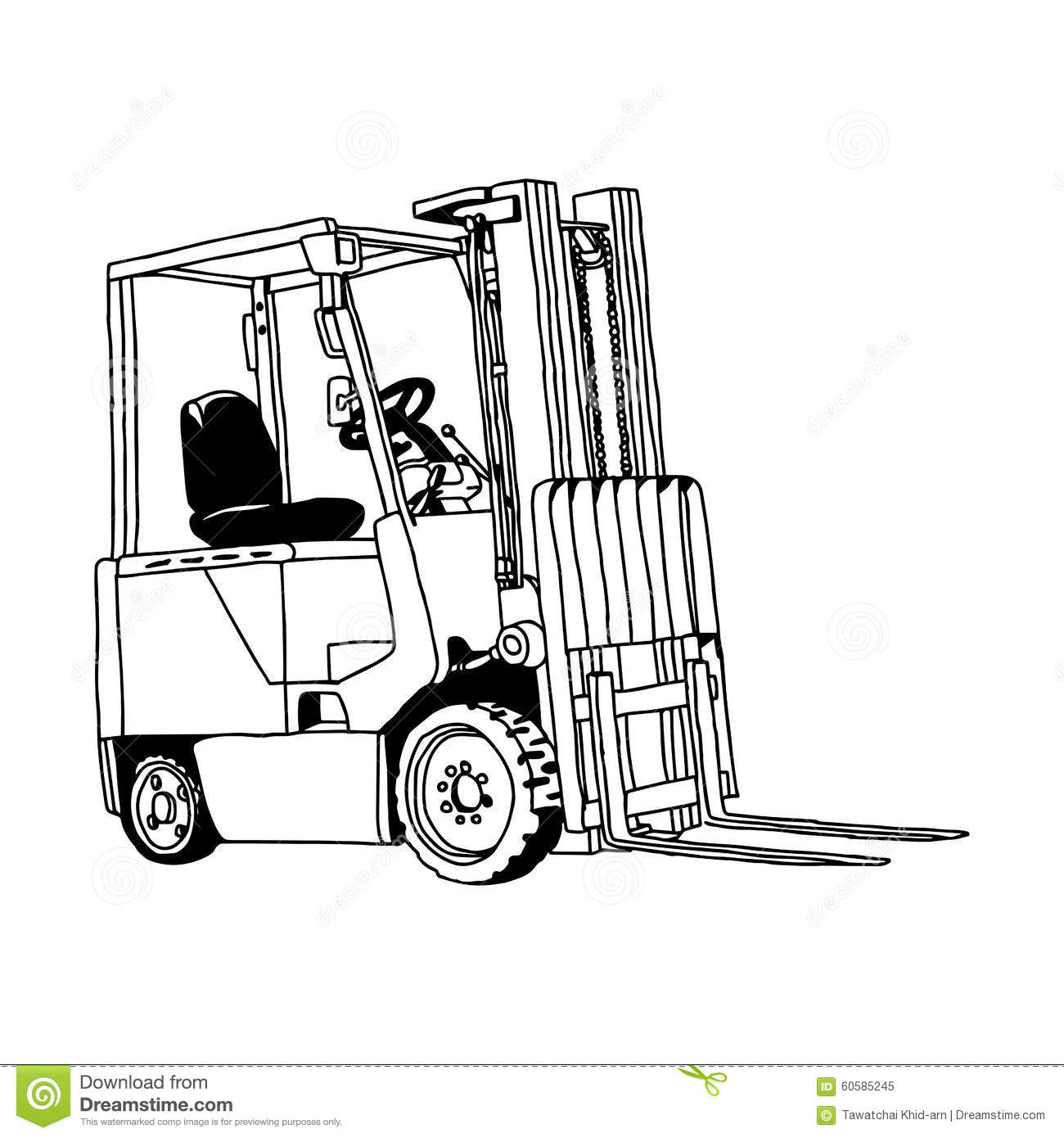Illustration Vector Hand Drawn Doodle Of Forklift Truck