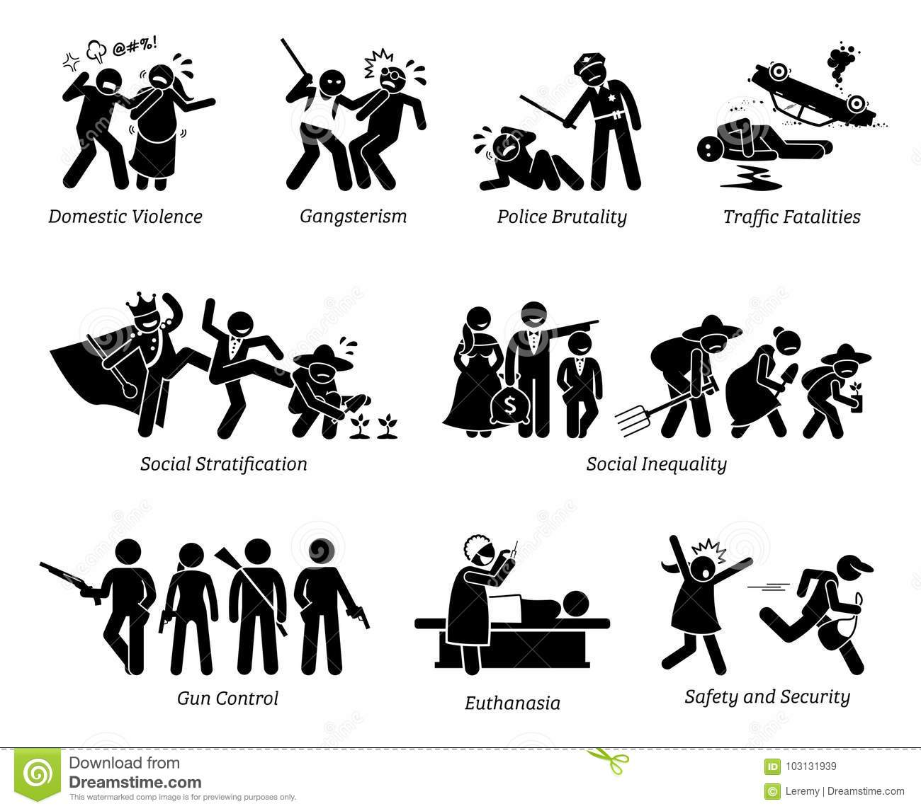 Social Problems And Critical Issues Stick Figure Pictogram
