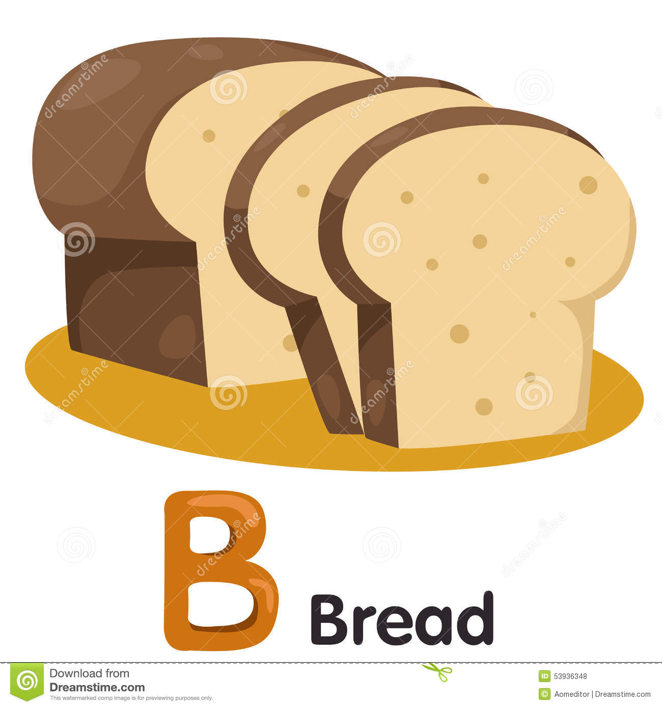 Illustrator Of B Font With Bread Stock Vector