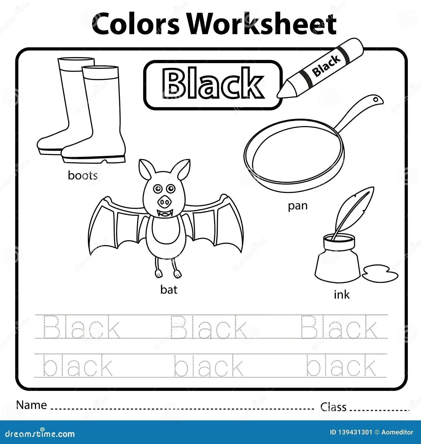 Illustrator Of Color Worksheet Black Stock Vector