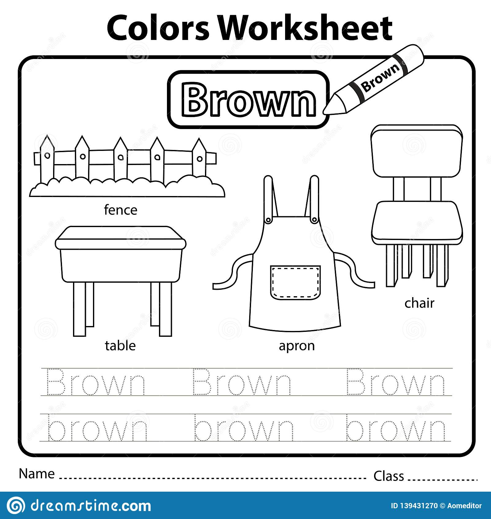 Illustrator Of Color Worksheet Brown Stock Vector