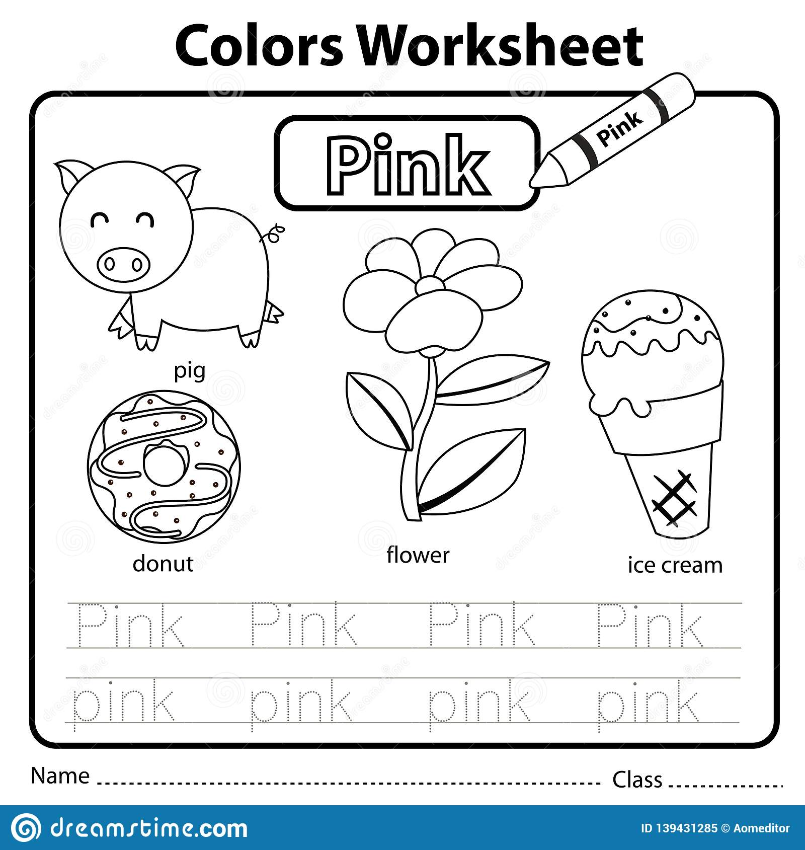 Illustrator Of Color Worksheet Pink Stock Vector