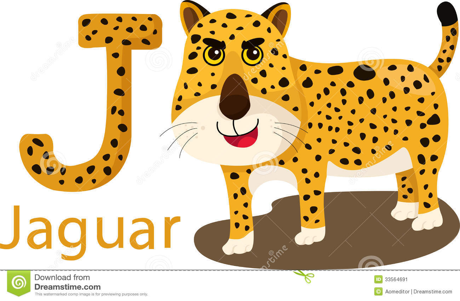 Illustrator Of J With Jaguar Stock Vector
