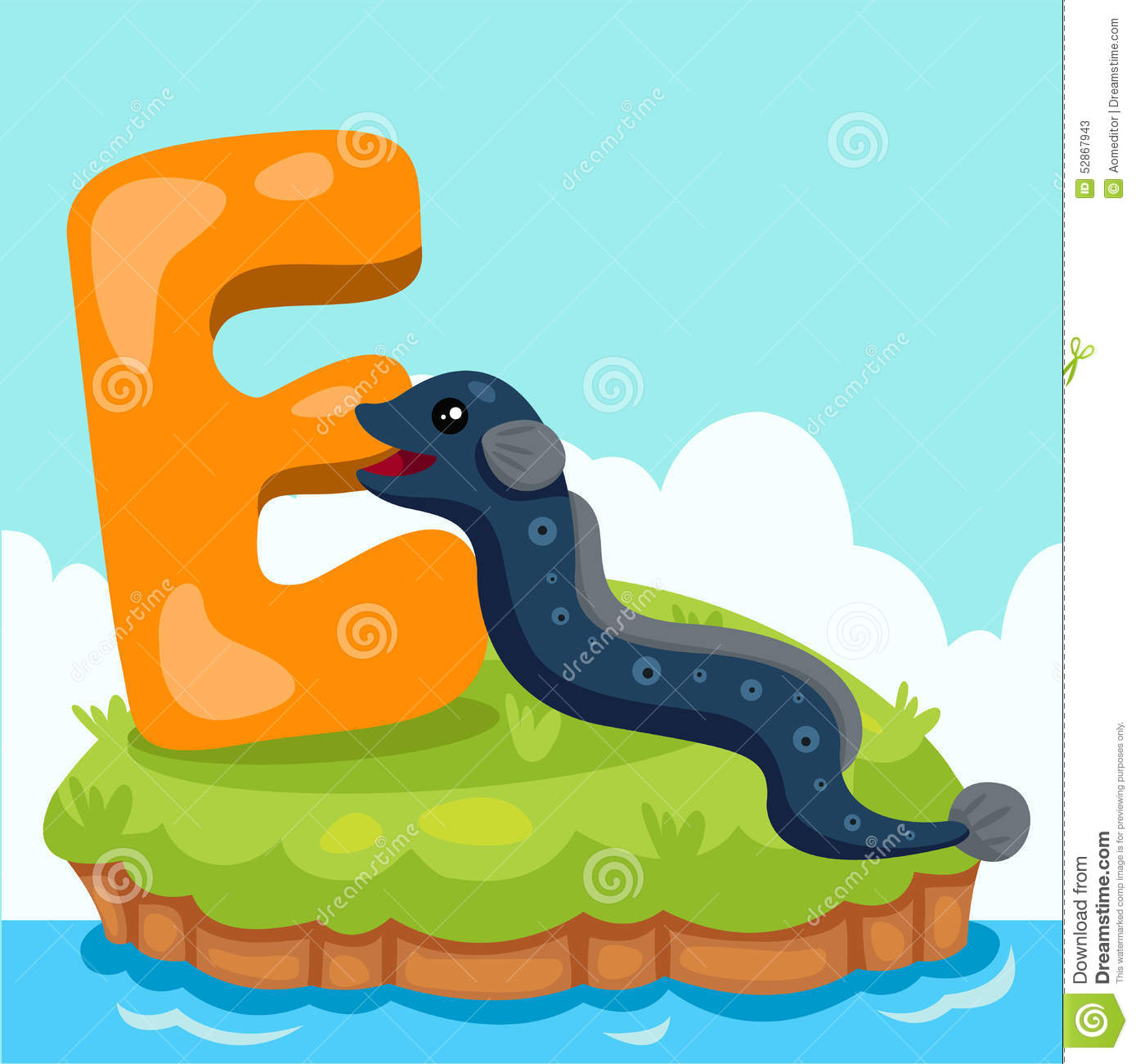 hight resolution of illustrator of letter e is for eel