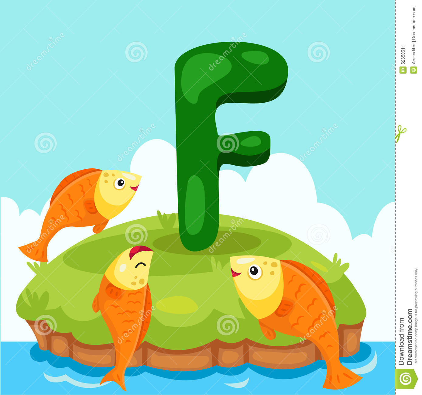 Illustrator Of Letter F Is For Fish Stock Vector