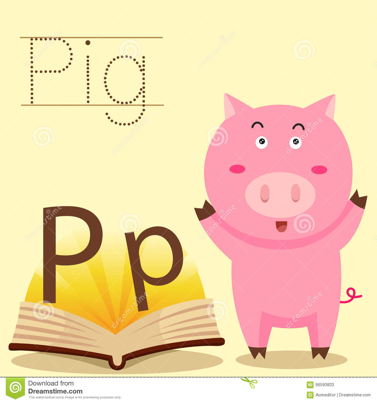 Illustrator Of P For Pig Vocabulary Stock Illustration