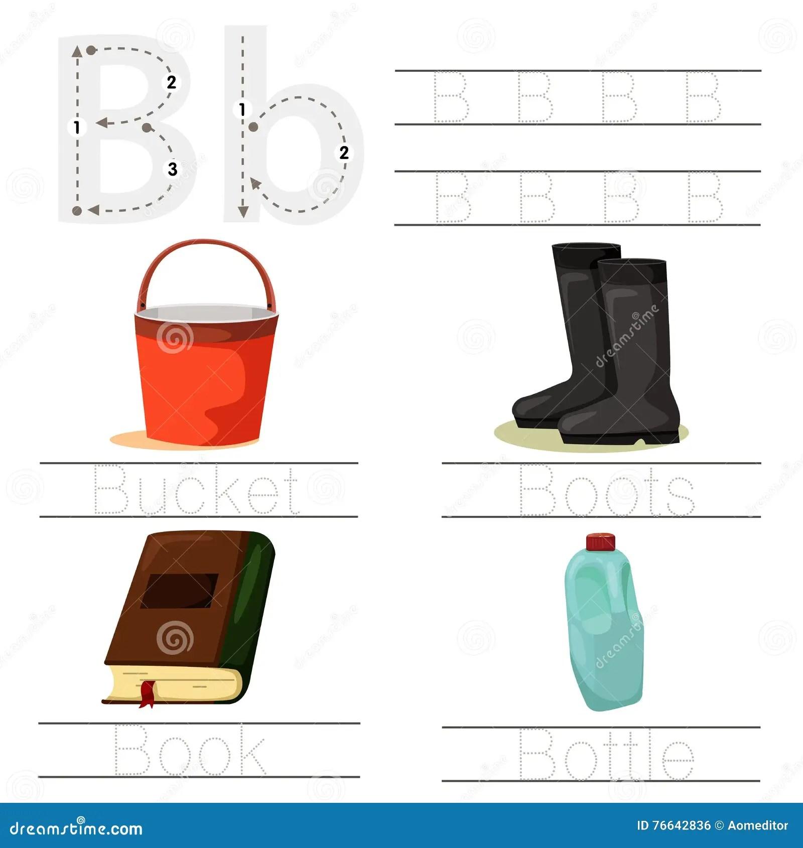 Illustrator Of Worksheet For Children B Font Stock Vector