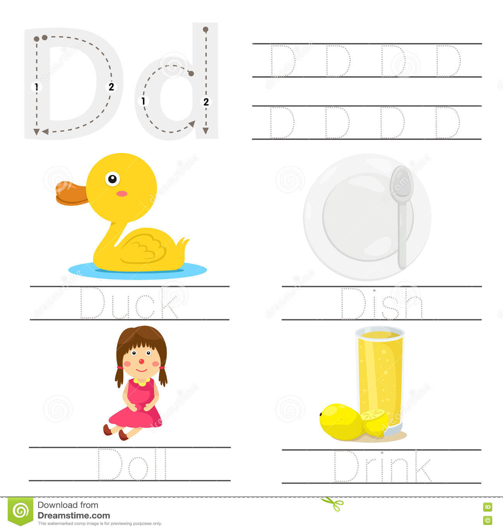 Illustrator Of Worksheet For Children D Font Stock Vector