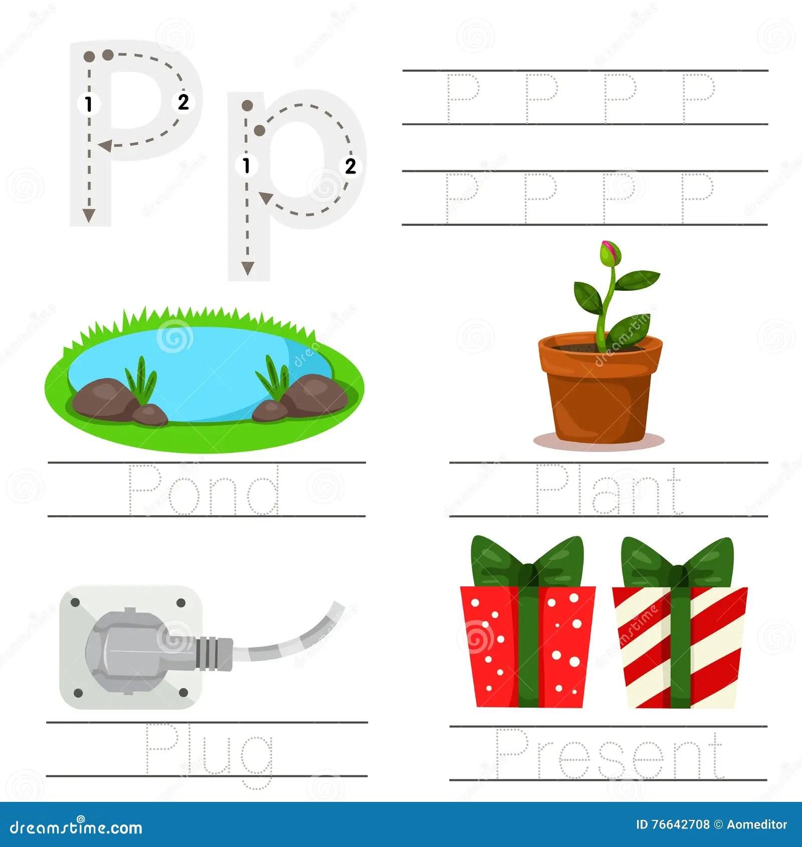 Illustrator Of Worksheet For Children P Font Stock Vector