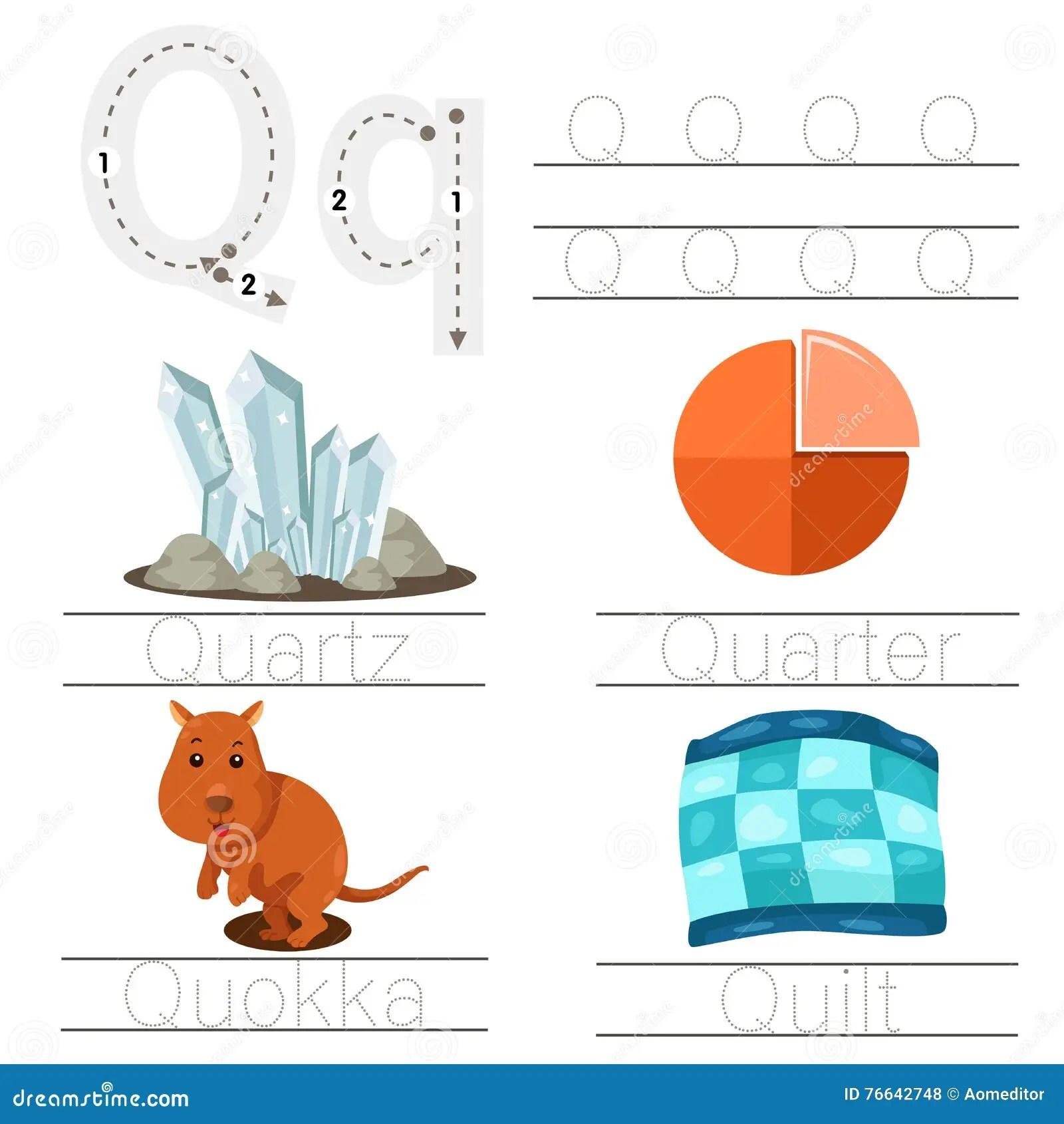Illustrator Of Worksheet For Children Q Font Stock Vector