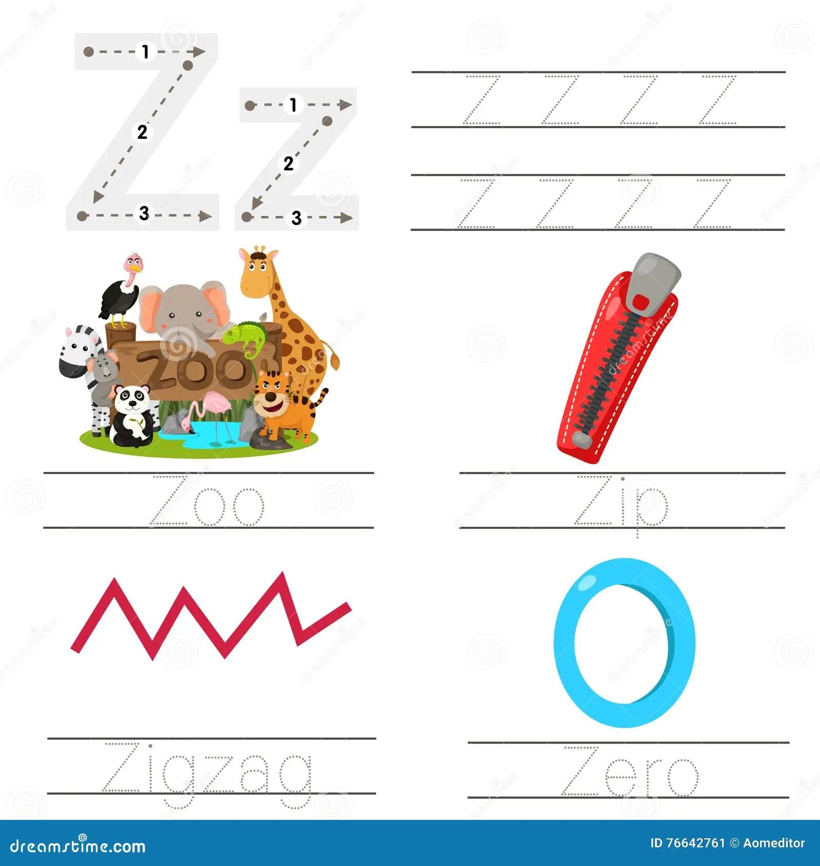 Illustrator Of Worksheet For Children Z Font Stock Vector