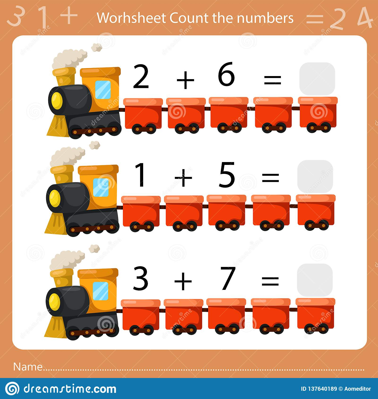 Illustrator Of Worksheet Count The Number Sheet Two Stock