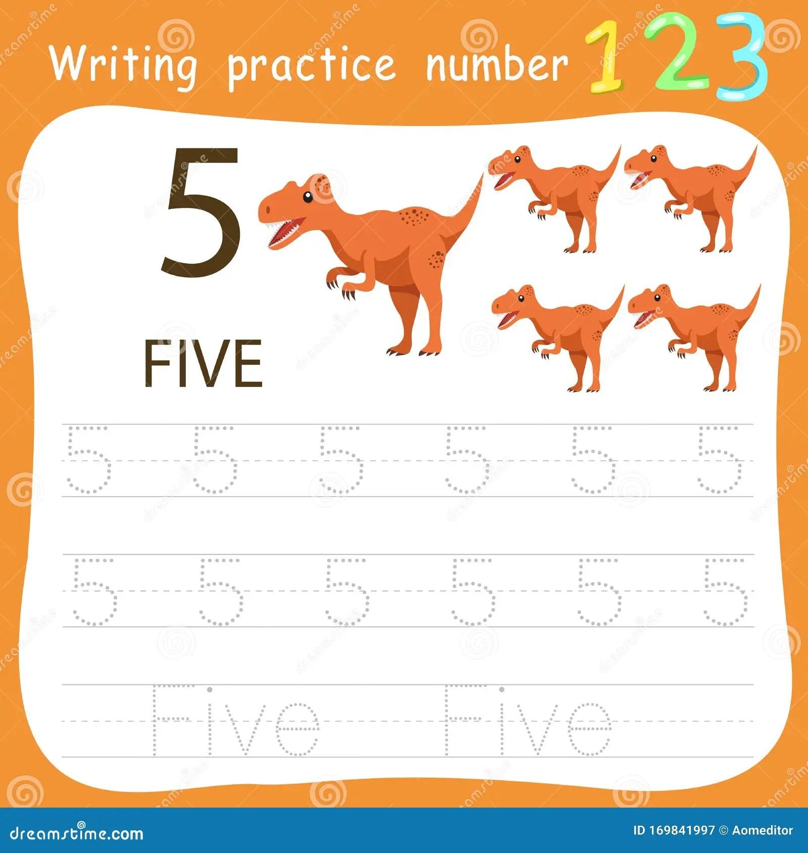 Worksheet Writing Practice Number Five Stock Vector