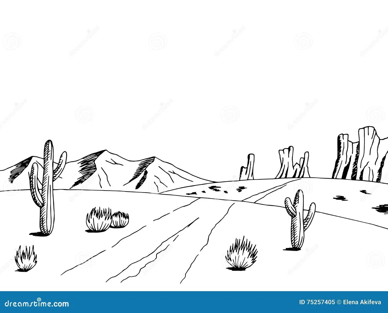 Illustrazione Bianca Di Schizzo Del Paesaggio Del Nero