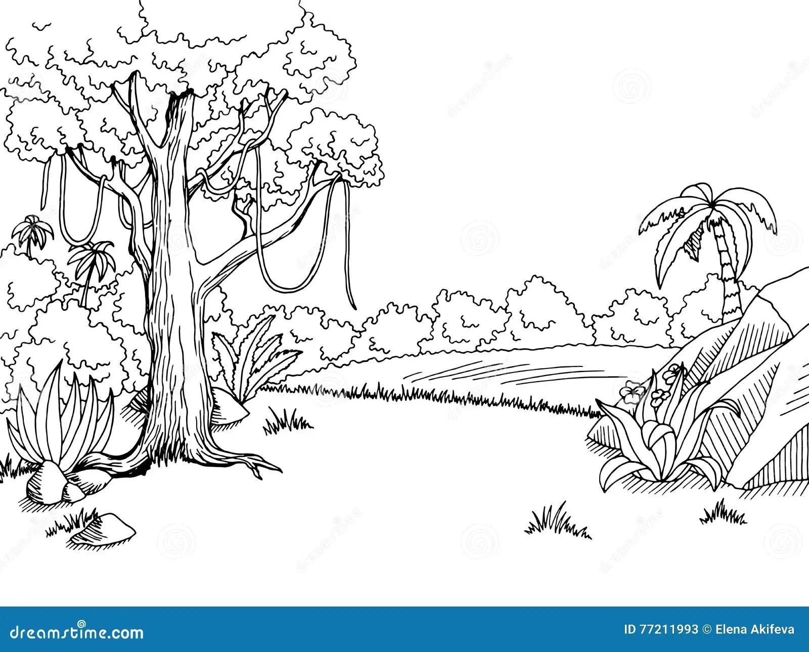 Illustrazione Bianca Di Schizzo Del Paesaggio Del Nero Di Arte Grafica Della Foresta Della
