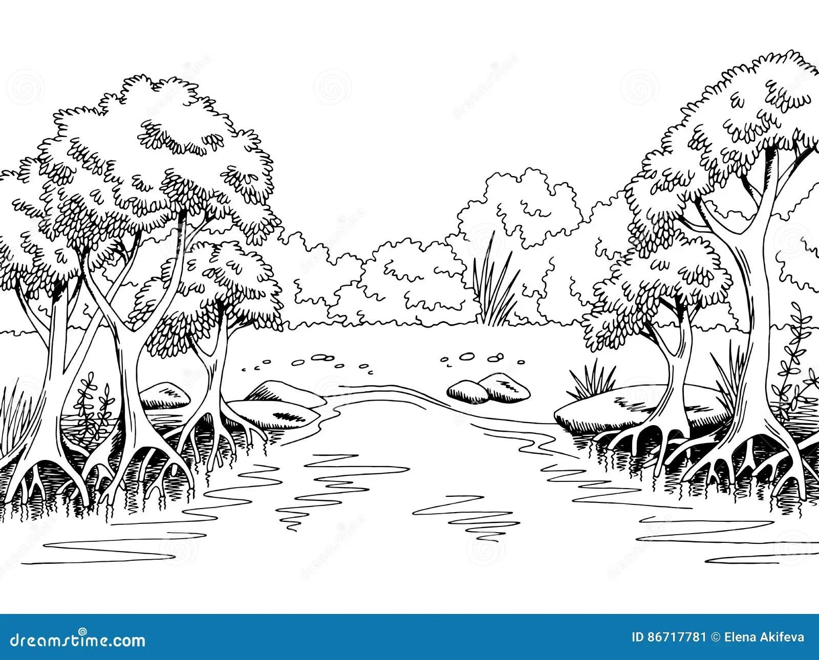 Illustrazione Bianca Nera Grafica Di Schizzo Del Paesaggio Del Fiume Della Foresta Della Giungla