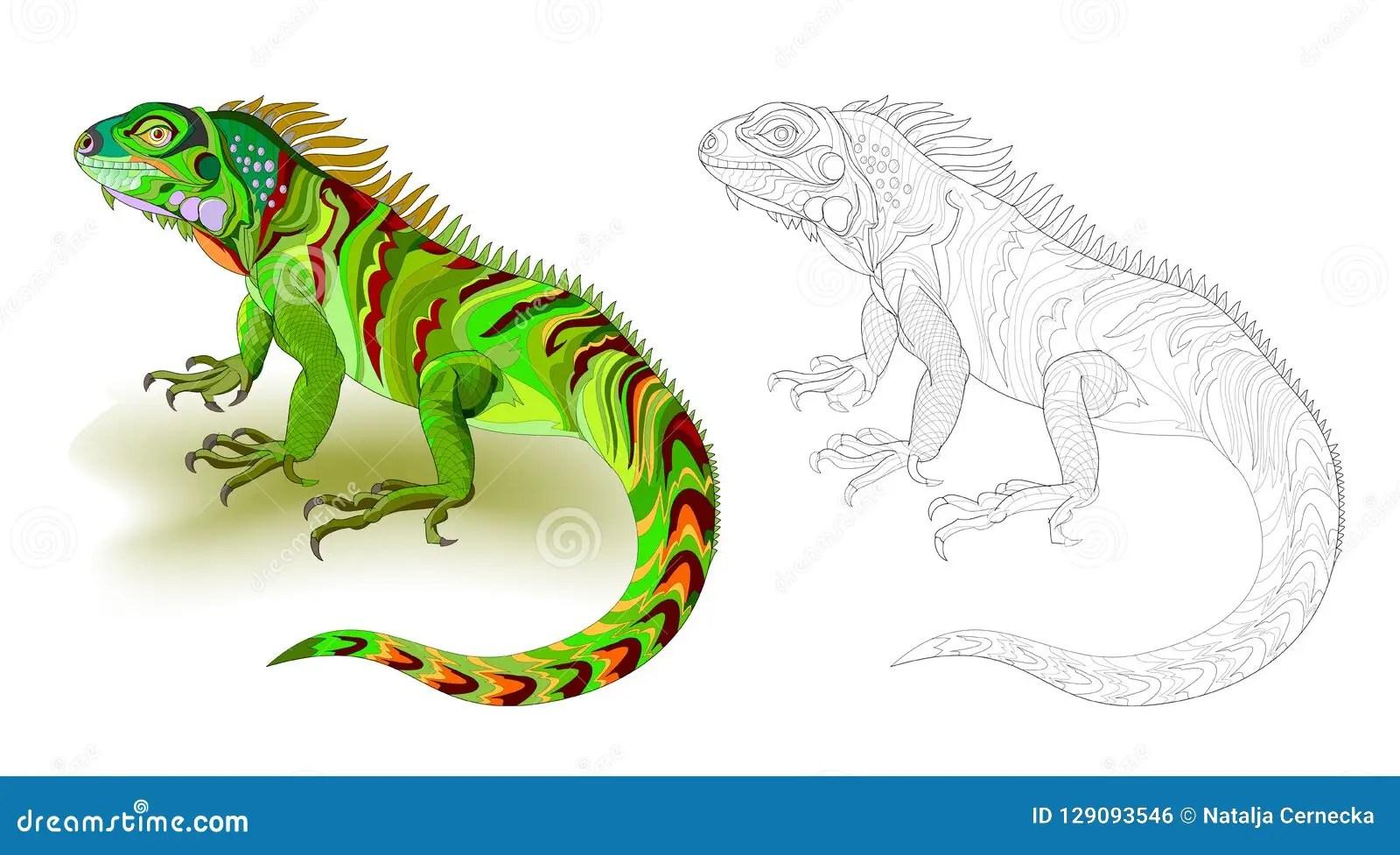 Illustrazione Di Fantasia Dell Iguana Sveglia Della