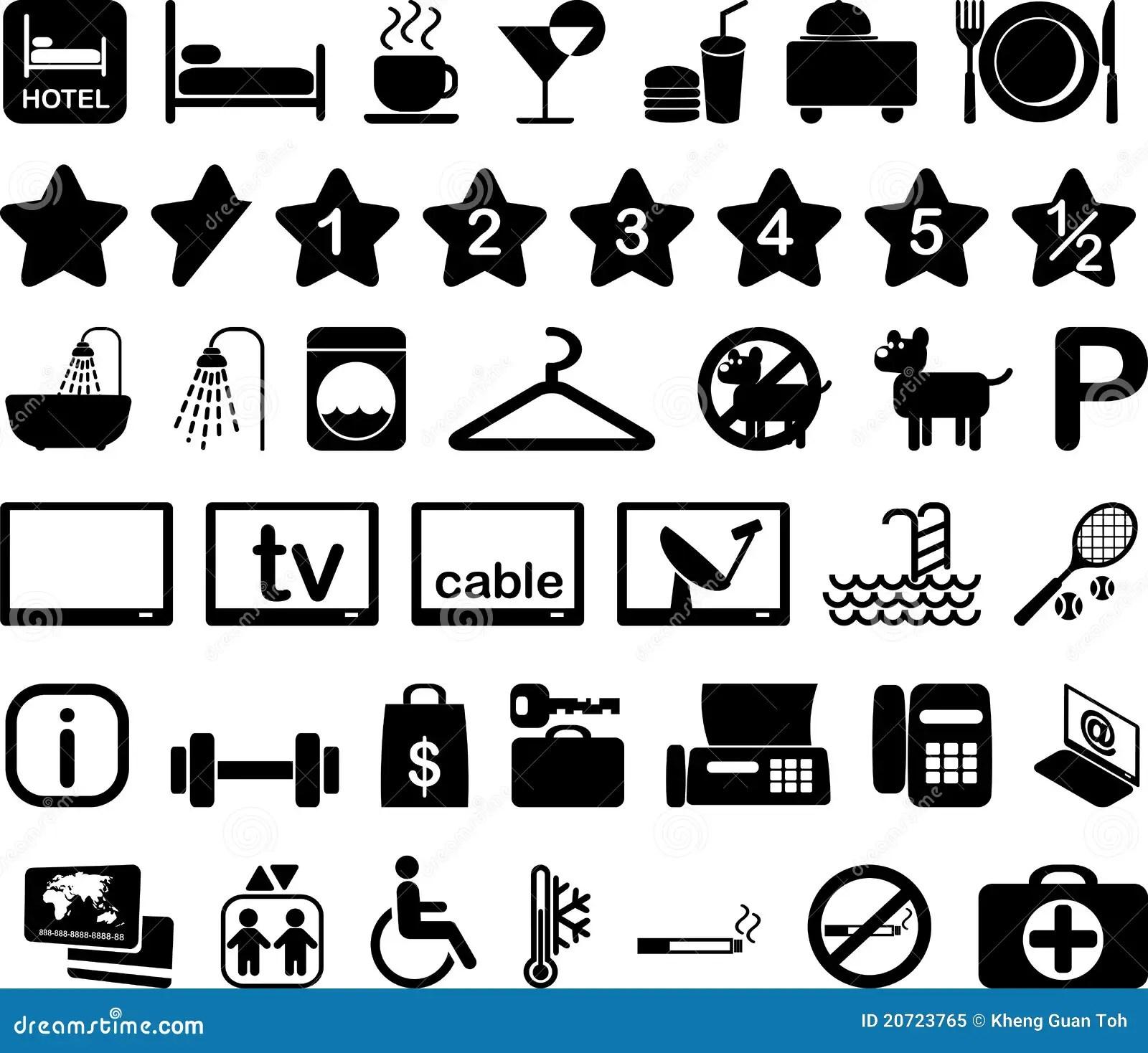 Ilustracao Ajustada Do Icone Do Hotel Ilustracao Stock