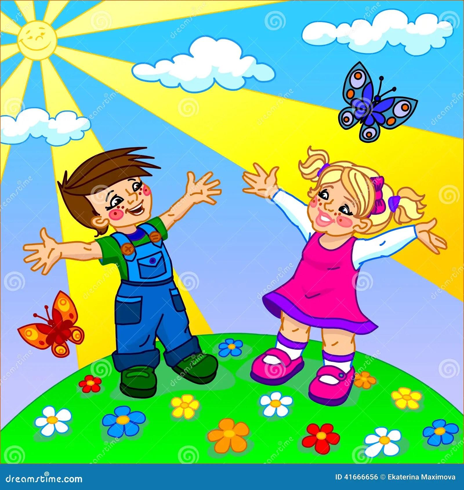 A Ilustracao De Criancas Felizes Dos Desenhos Animados