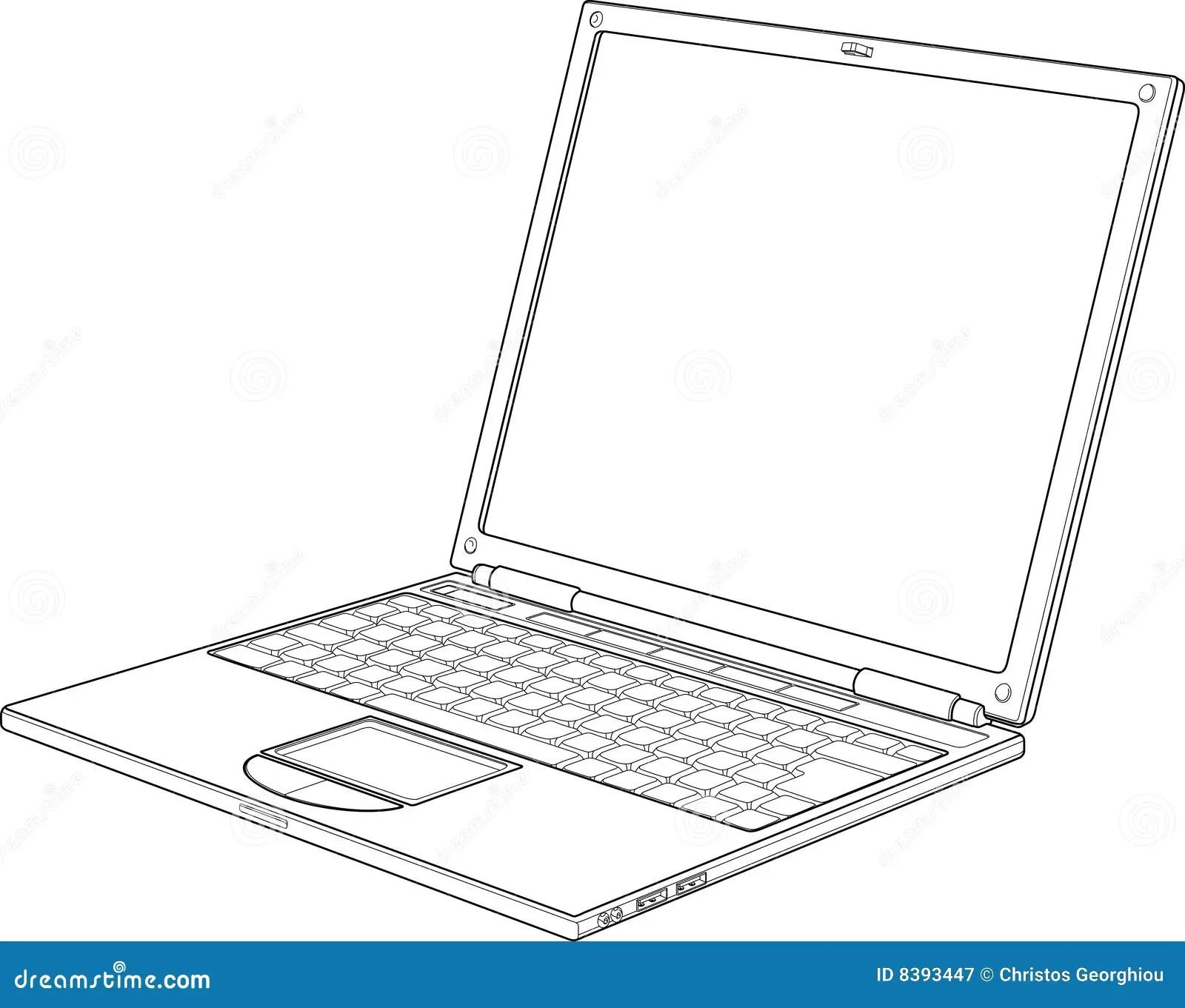 Ilustracion Del Vector Del Esquema De La Computadora