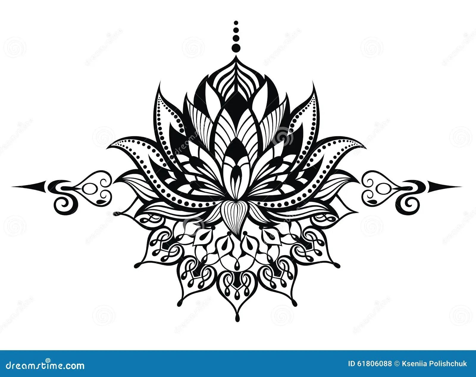Ilustración Del Zen De La Flor De Loto Tatuaje Ilustración Del