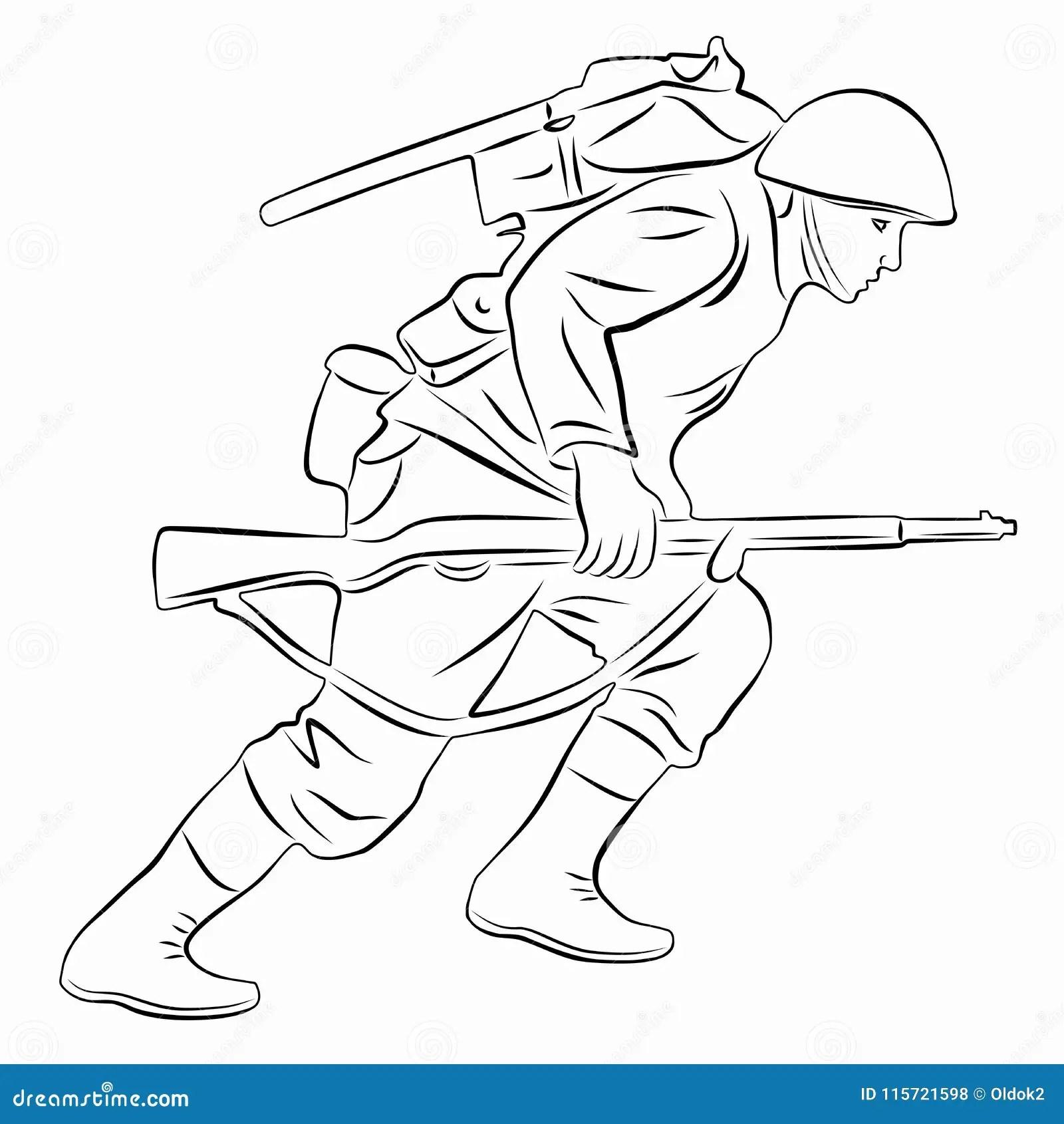 Ilustracja Działający żołnierz, Wektorowy Remis Ilustracja