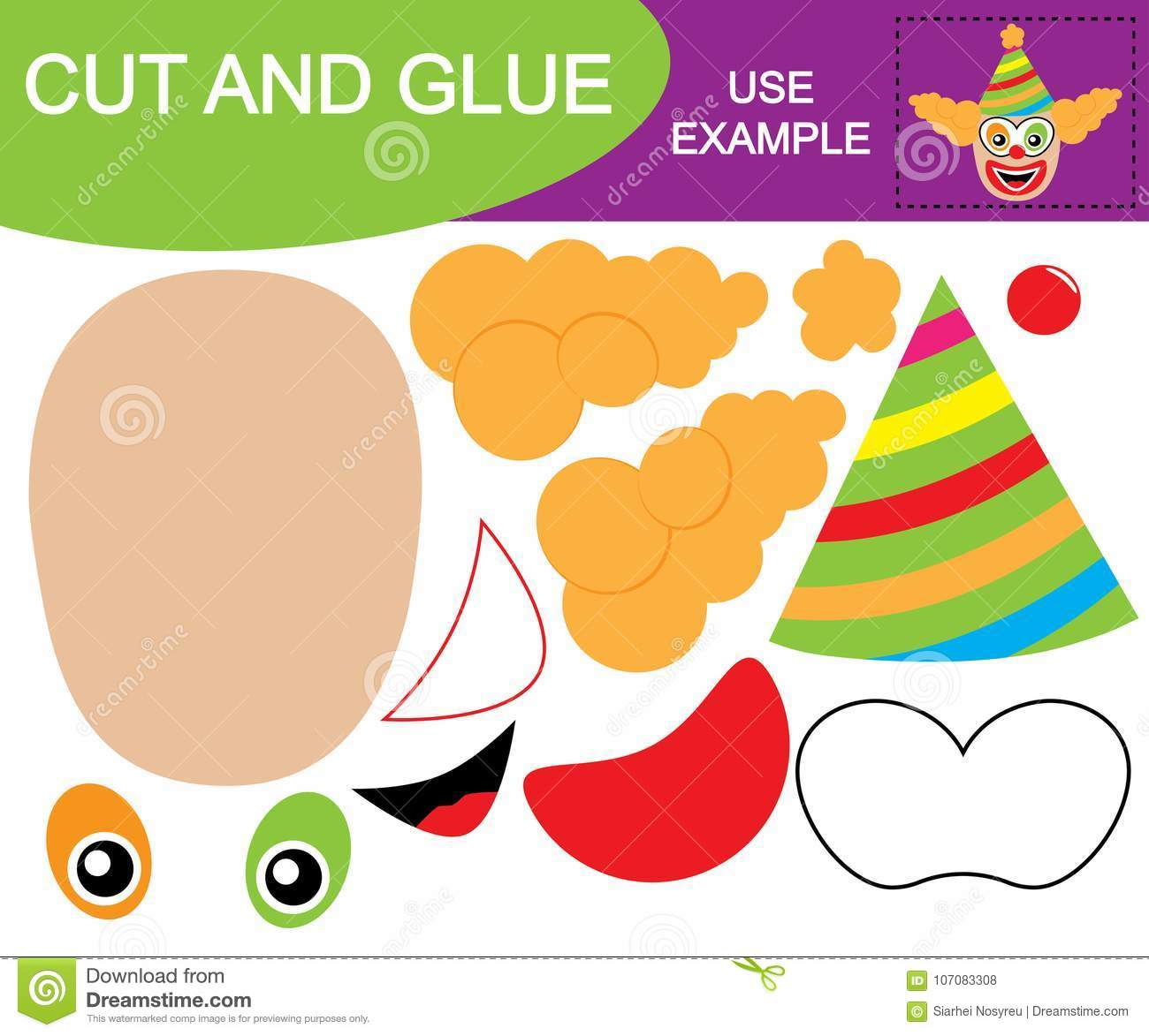 Image Of Clown Cut And Glue Educational Game For