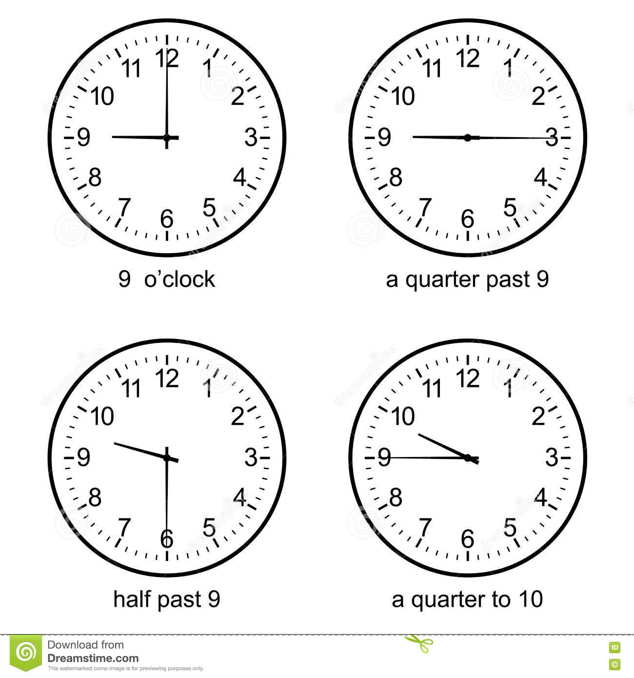 Image Of Early Learning Learn To Tell Time Wall Clock Vector Stock Vector