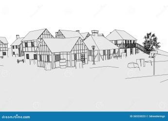 Image of medieval village stock illustration Illustration of drawing 36555023