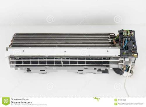 small resolution of image of old air conditioner with broken electrical wiring shot at home