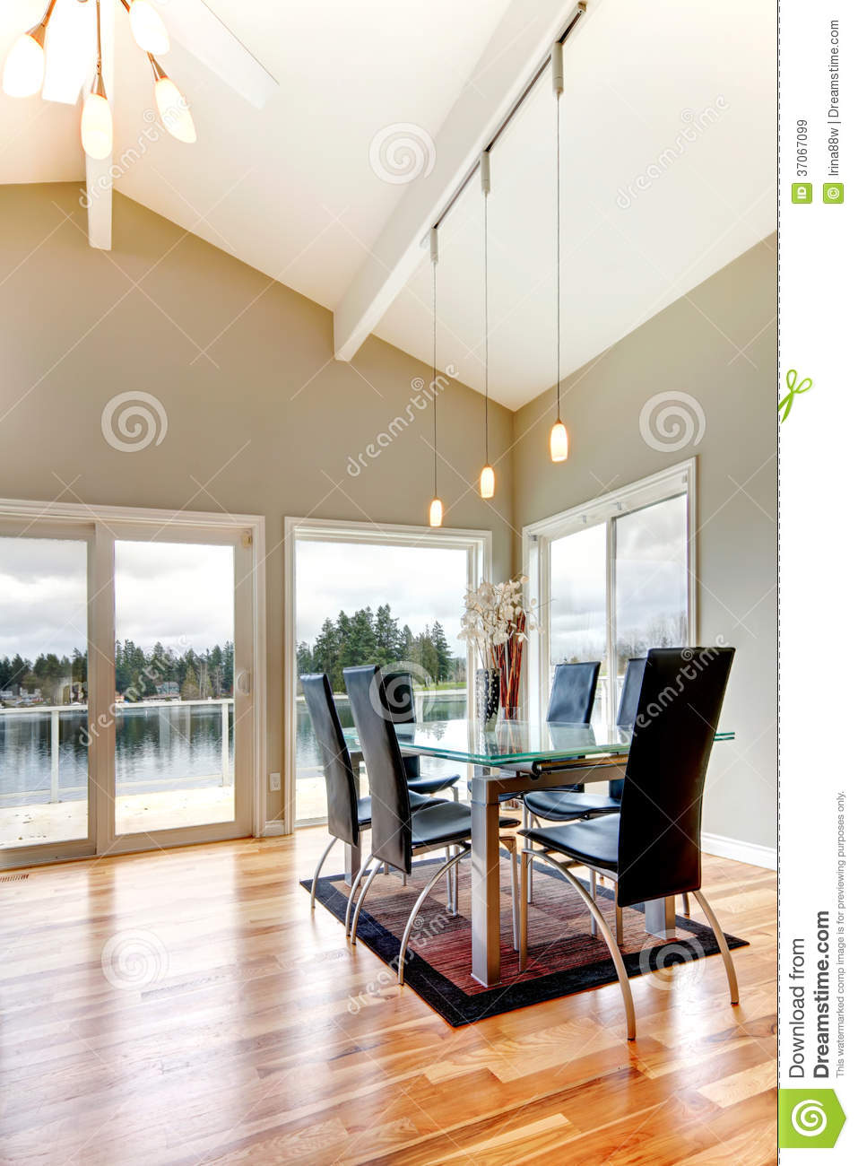 Impressive Cathedral Ceiling Dining Room Royalty Free