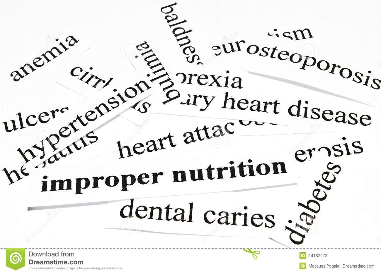 Improper Nutrition. Health Care Concept Of Diseases Caused