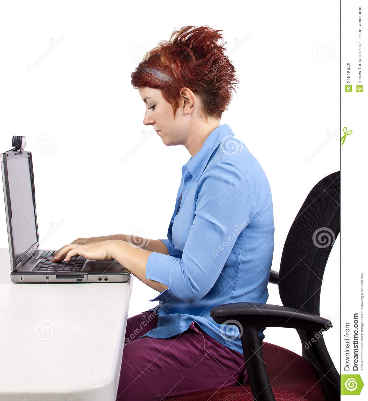 proper chair posture at computer outdoor folding with canopy improper royalty free stock images - image: 31818449