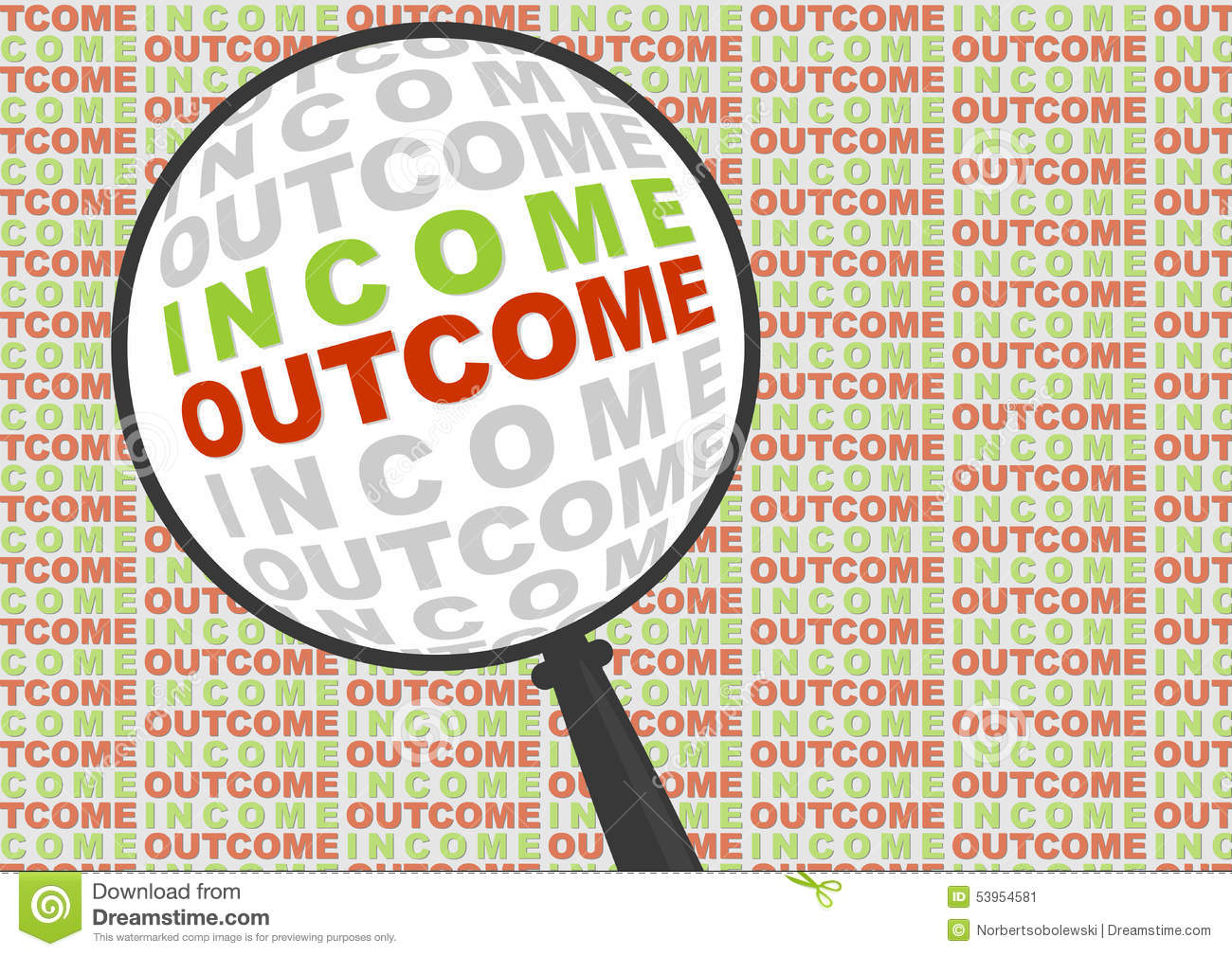 Income And Outcome In Magnifier Stock Vector  Image