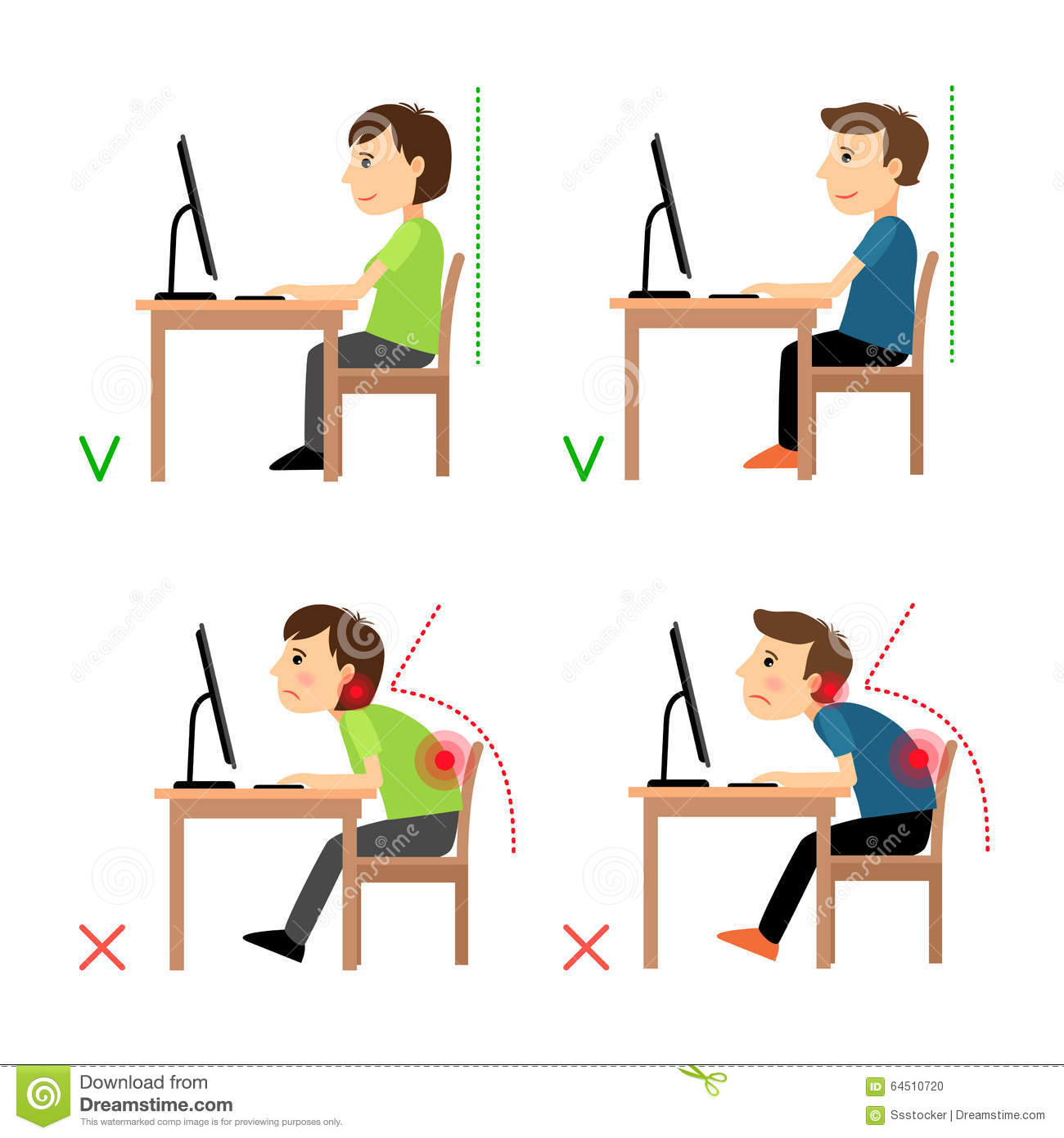 posture monitoring chair picnic time folding incorrect and correct back sitting position stock vector