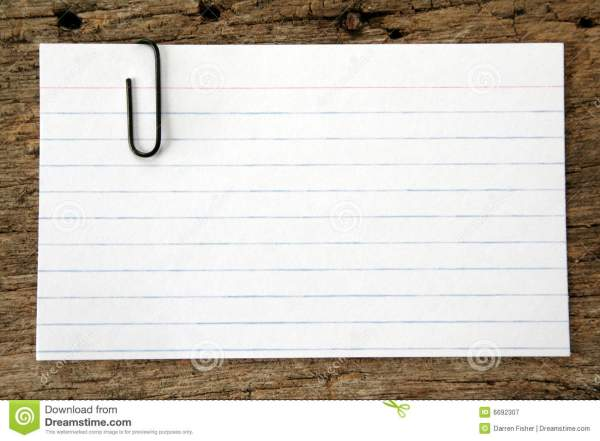 Index Card with Paper Clip