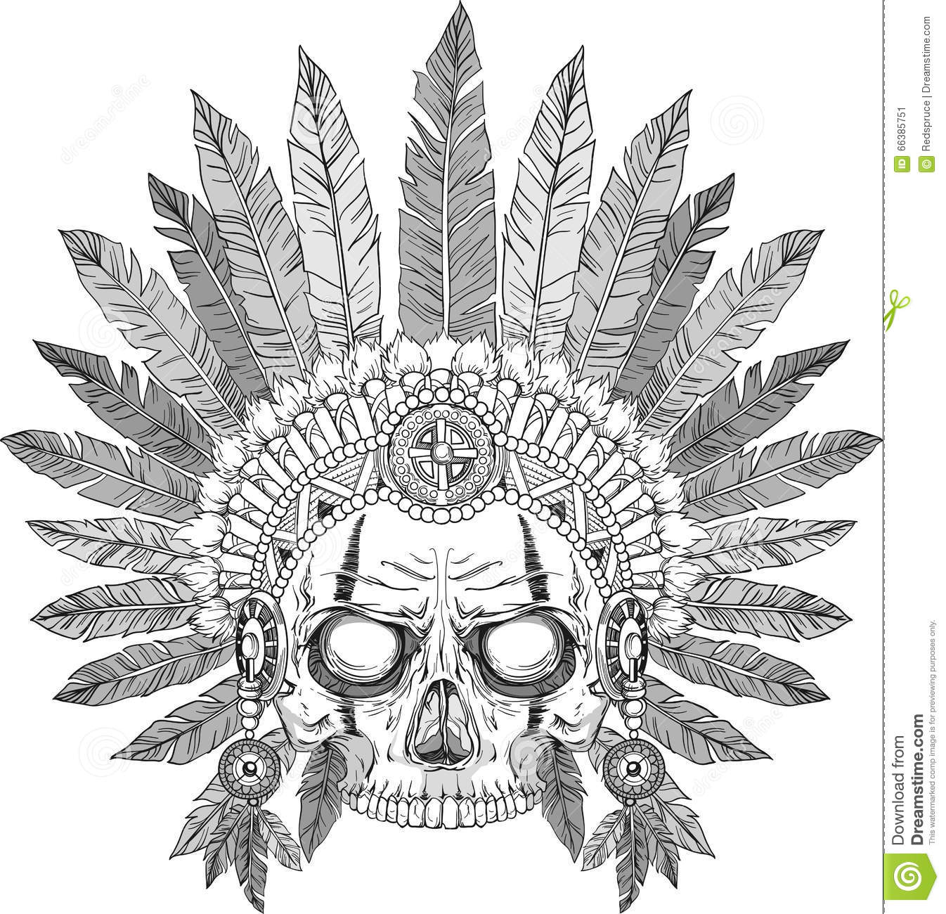 Indian Chief Skull Stock Vector